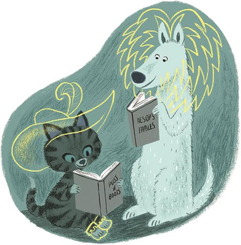 cat and dog reading smaller